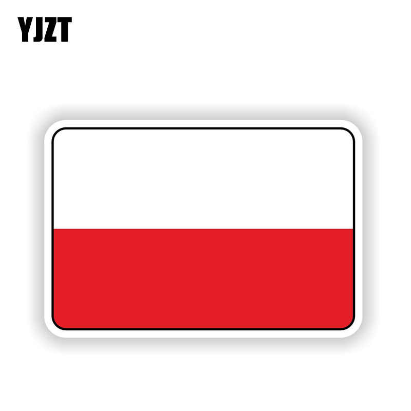 Yjzt 12.1 Cm * 8 Cm Auto Venster Polen Vlag Reflecterende Auto Sticker Bike Decal 6-1696