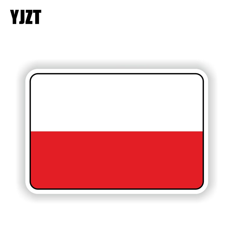YJZT 12.1CM*8CM Car Window Poland Flag Reflective Car Sticker Bike Decal 6-1696