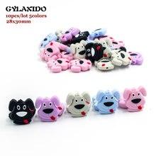 10Pcs Mini Dog Silicone Beads 2.8cm Puppy Baby Teething Necklace Beads Nursing M