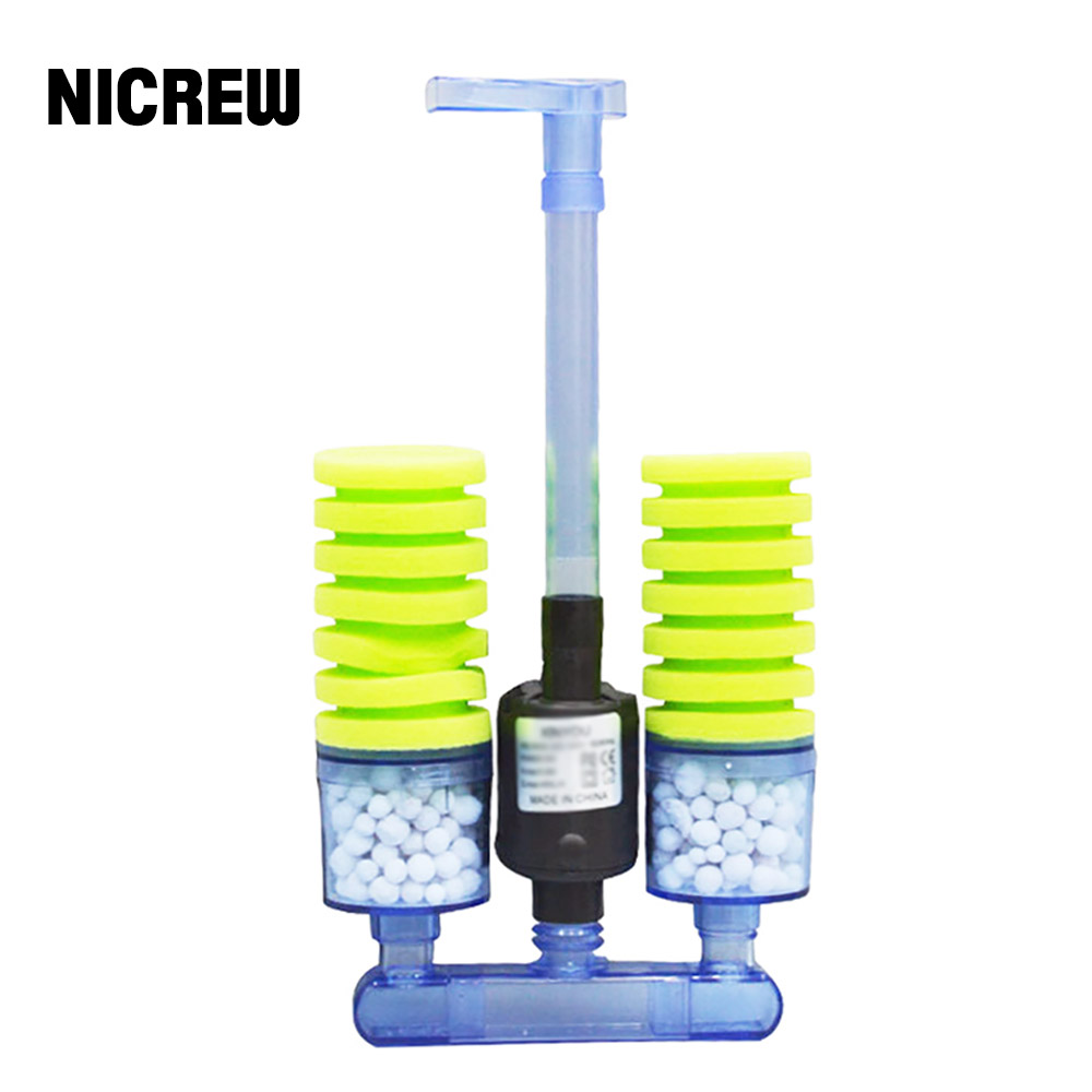NICREW Sponge Filter Aquarium Fish Tank Filter With Submersible Water Pump And Biochemical Sponge Filter For Water Circulation
