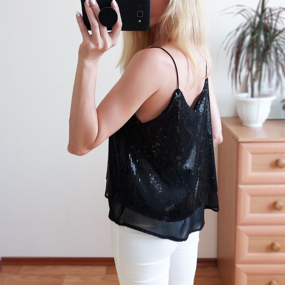Sexy Women Tank Top Sequined Camisoles Paillette Tee Woman Camisole Vest Spaghetti Strap Club Wear Ladies Summer Camis Blouse in Camis from Women 39 s Clothing