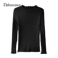 Dabuwawa Two Colors Autumn Winter Long Sleeve Basic Ruched Pullovers Knitted Sweaters Tops Casual Knit Sweater