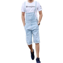 цена на Men's Jeans Bib Light Blue Siamese Suspender Pants Shorts Men's Loose Large Size Overalls Women's Sling Bodysuit Size S-4XL 5XL