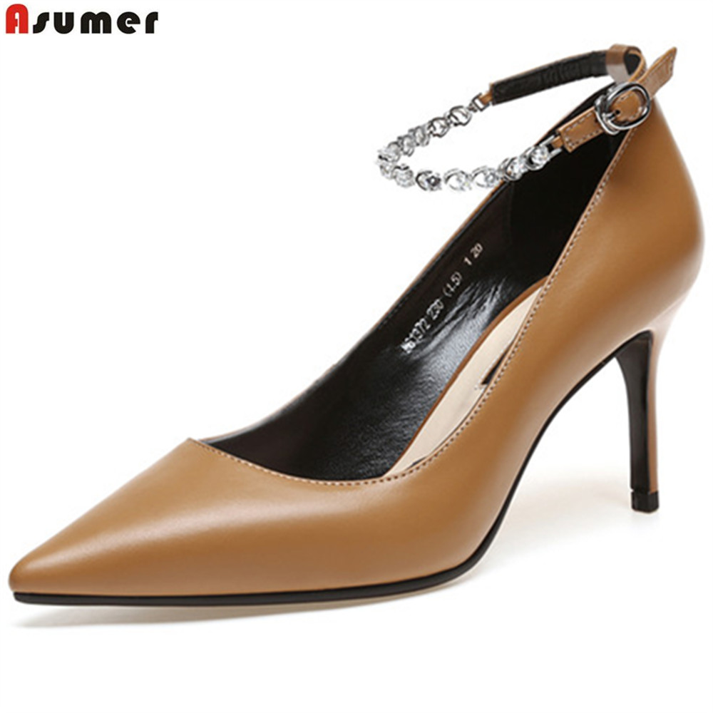 ASUMER black fashion spring autumn shoes woman pointed toe Natural genuine Leather heel shoes shallow crystal high heels shoes беспроводная hi fi акустика dali дополнительная пассивная колонка kubik xtra red