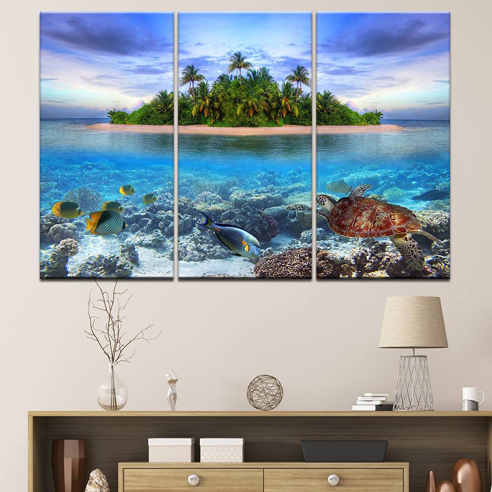 Canvas Painting tropical island with fish 3 Pieces Wall Art Painting Modular Wallpapers Poster Print for living room Home Decor