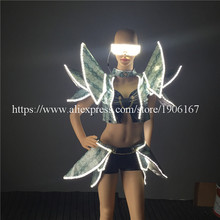 New Design LED Luminous Light Up Sexy Women Suit Clothes Flashing Evening Dress Ballroom Costume Party Dance Wear