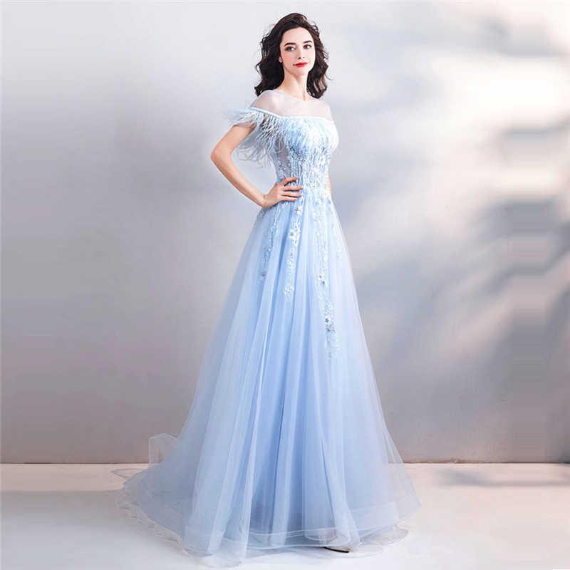 4e76e86a0df ... Это Yiiya вечернее платье 2018 Синий Розовый перья с круглым вырезом  Рубашка с короткими рукавами Иллюзия ...