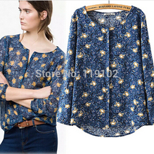 New Massimo 2015 Famous Brand Fashion Women Long Sleeve Print Blouse Casual O Neck Cotton Shirt Tops Blusa Feminina Plus Size XL