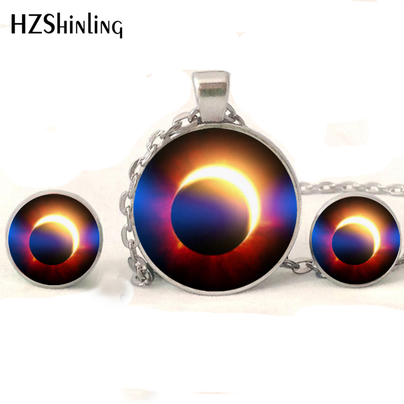 HZShinling NR-006 Solar Eclipse Jewelry Set Moon and Sun Science Necklace Silver Earrings Round Glass Lunar Eclipse Necklace