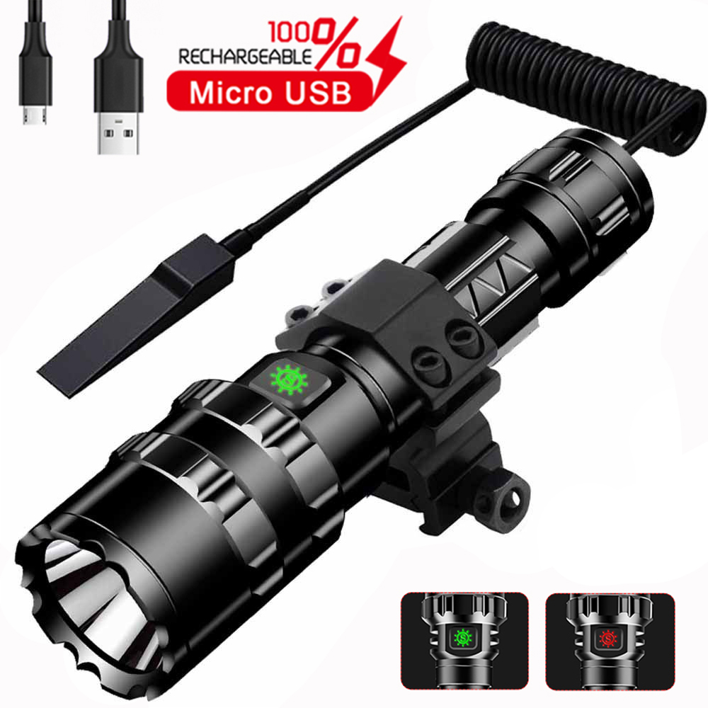 1102 10000Lums LED L2 Tactical Flashlight Super Bright USB Rechargeable Torch Clip Hunting Light Waterproof For 18650 Battery
