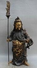 wholesale factory 17″ China Bronze Gild Stand Guan Gong Yu Warrior God knife sword knight Statue