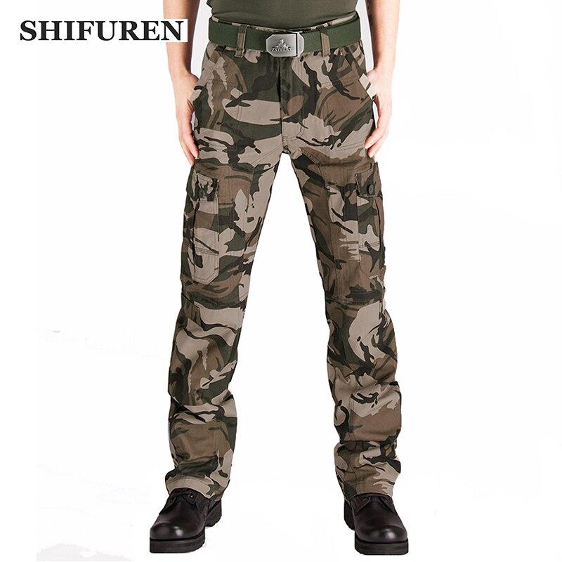 SHIFUREN hommes militaire Cargo pantalon Camouflage multi-poches pleine longueur décontracté Camo bleu de travail pantalon grande taille 28-44
