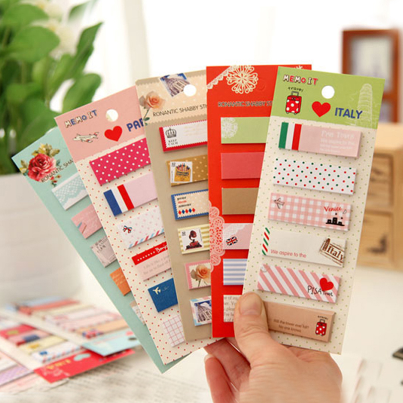 3 pcs school student stationery fresh cute cartoon post N sticker pad Memo Pads mixed color paper self-adhesive stickers