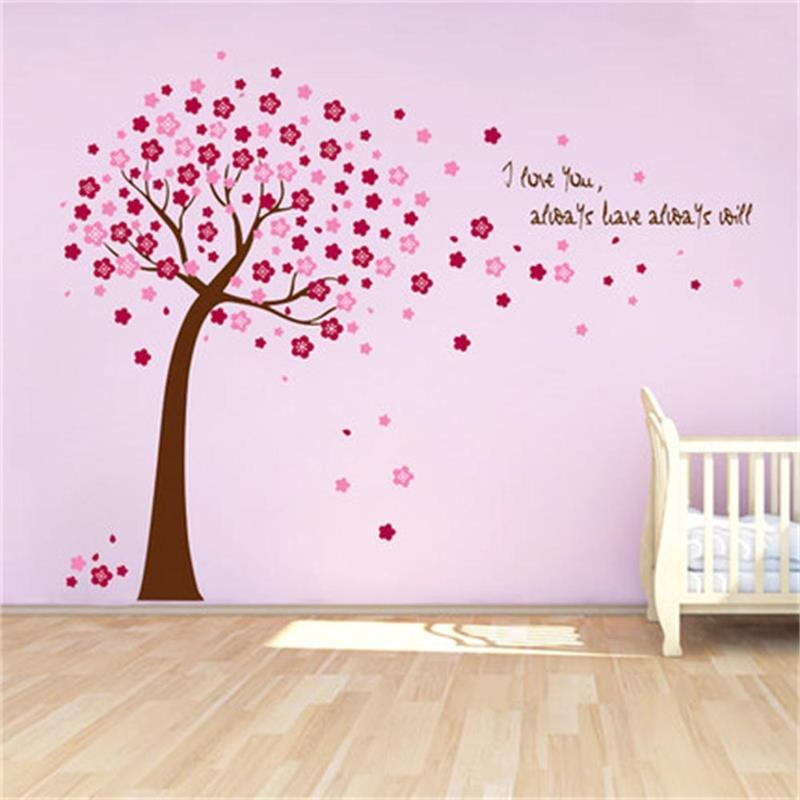 Cherry Blossom pink Flower Tree PVC Wall decals decor ...