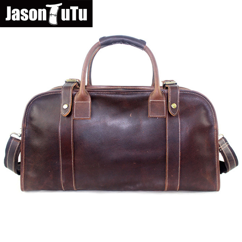 JASON TUTU Crazy Horse Leather men bag travel tote Large capacity vintage genuine leather men's travel bags HN113 maxwell high quality vintage large size big capacity genuine crazy horse leather men travel bags messenger bags mw j7028r 1
