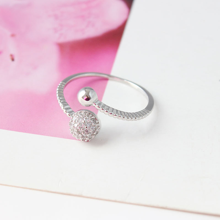 New Arrival High Quality Simple Women Concise Ball Crystal Ring Rose ...