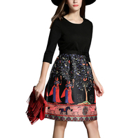 Spring Autumn Dress Woman Fashion Half Sleeve Patchwork Colour Beatuty Horse Tree Print Flare Dresses Waist