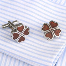 VAGULA Hot Sell Rosewood Cufflinks AAA Quality Men Shirt Stainless Steel redwood Cuff links Luxury Luck Leaf Cufflings 360