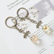 New Metal Key Chain For Woman Crystal Glass Ball Dried Flower Pendant keychains Angel Wings Charm Key Ring Jewelry Diy(China)