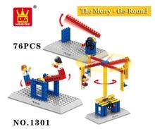 Wange Blocks Electric Toys Carrousel Plastic Model Kits Building Toys Blocks Bricks Kids DIY Toys Compatible With Legos 76pc/set