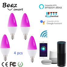 Boaz-EC E14 Smart Wifi LED Candle Bulb Light Remote/Voice Control Tuya Smartlife Dimmable Alexa Echo Google Home IFTTT 4pcs