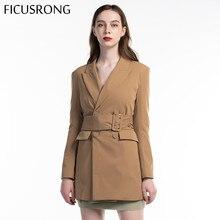 FICUSRONG 2019 New Autumn Women Coat Khaki V Neck Medium Long Blazer With Belt Elegant Solid Pocket Double Breasted Outwear