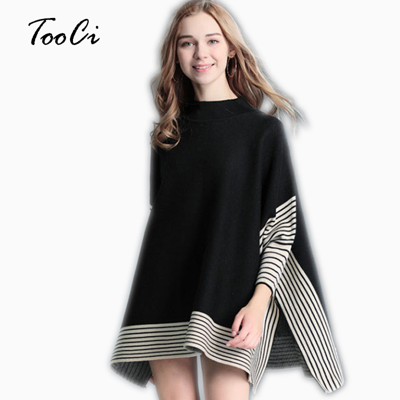 Women Ponchos And Capes Sweaters Spring Casual Pullover Shawl Female Black Batwing Sleeve Stripes Loose Poncho Cloak