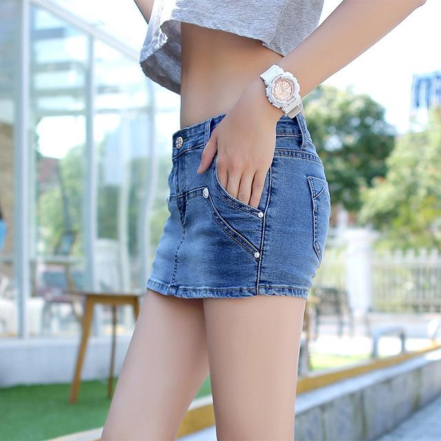 OHRYIYIE Summer Denim Shorts Women 2018 New Fashion Curling Ripped Jeans Shorts Plus Size 3XL Female Fake Two Shorts Feminino