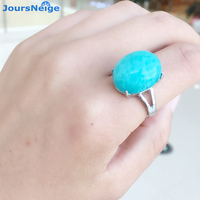 JoursNeige Natural Ice Amazonite Rings 925 Silver New Fashion Brief 100 S925 Sterling Silver Ring For