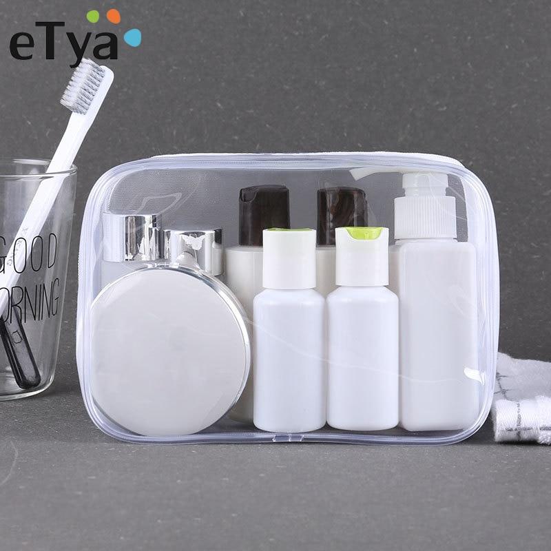 ETya Transparent Travel Cosmetic Bag Make Up Case Women Men Portable Zipper Makeup Bag Beauty Organizer Toiletry Storage Kit Box