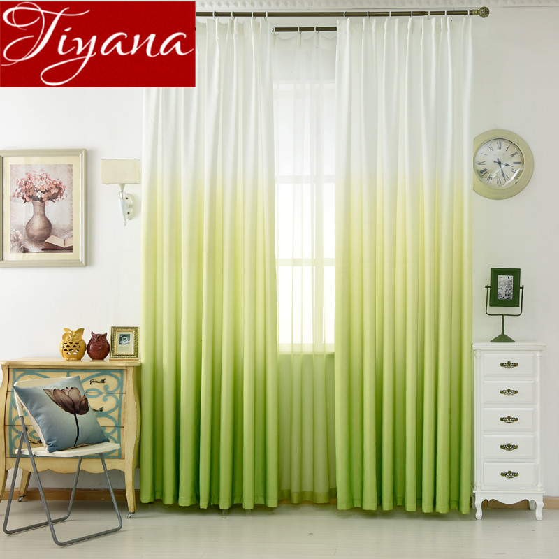 Green Curtains Gradient Print Voile Curtain Modern Window Living Room Tulle Curtains Drapes Gray Fabric Cortinas T&185 #30