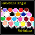 New Arrived 24 pure Colors Nail Art Solid  Color UV Gel Nail Gel Colorful Gel Free shipping