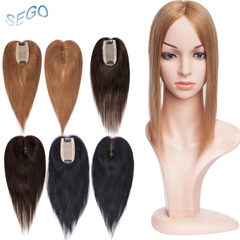 SEGO 12 Inches Straight Silk Base Hair Topper Toupee For Women Natural Color Hair Piece Clip In Hair Extensions Non-Remy Hair30G