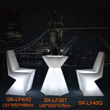 1 PC SK-LF28T (L60*W52*H76cm) LED Diamont Shape Bar Cocktail Table with 2 PCS LED Sofa Chair for Event Party free shipping 1 Set