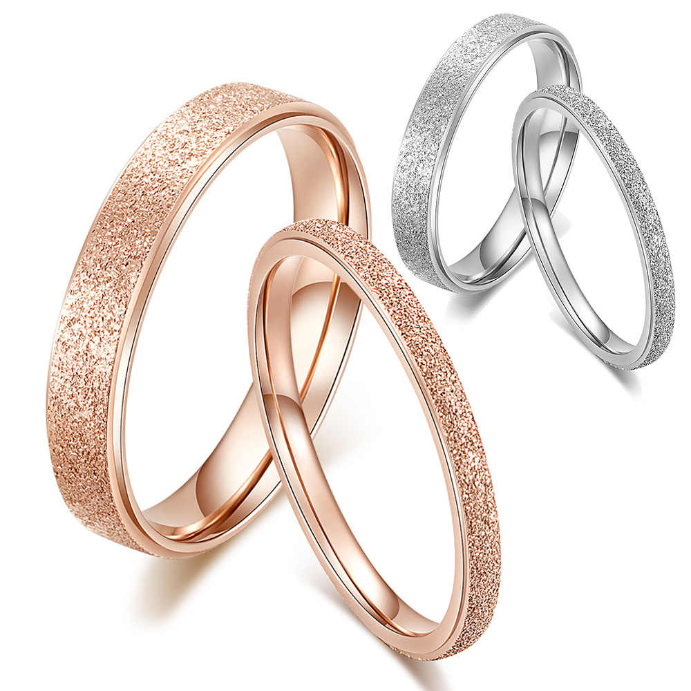 Classic Simple Matte Narrow/Wide Ring Titanium Steel for Women Trendy Tail Ring Silver/Rose Gold Color Wedding Band Jewelry Gift