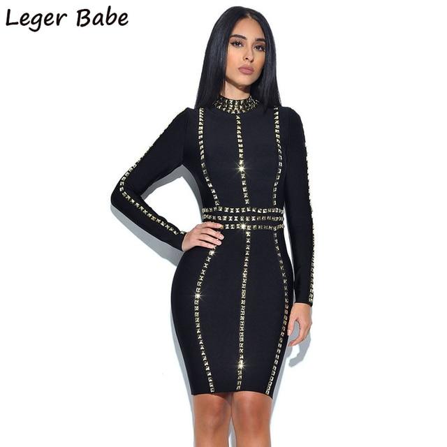 2019 Hot Fix Rhinestone Embellished Studded Black Full Long Sleeves  Turtleneck Mini Party Vestidos Dress Bodycon Sheath Women