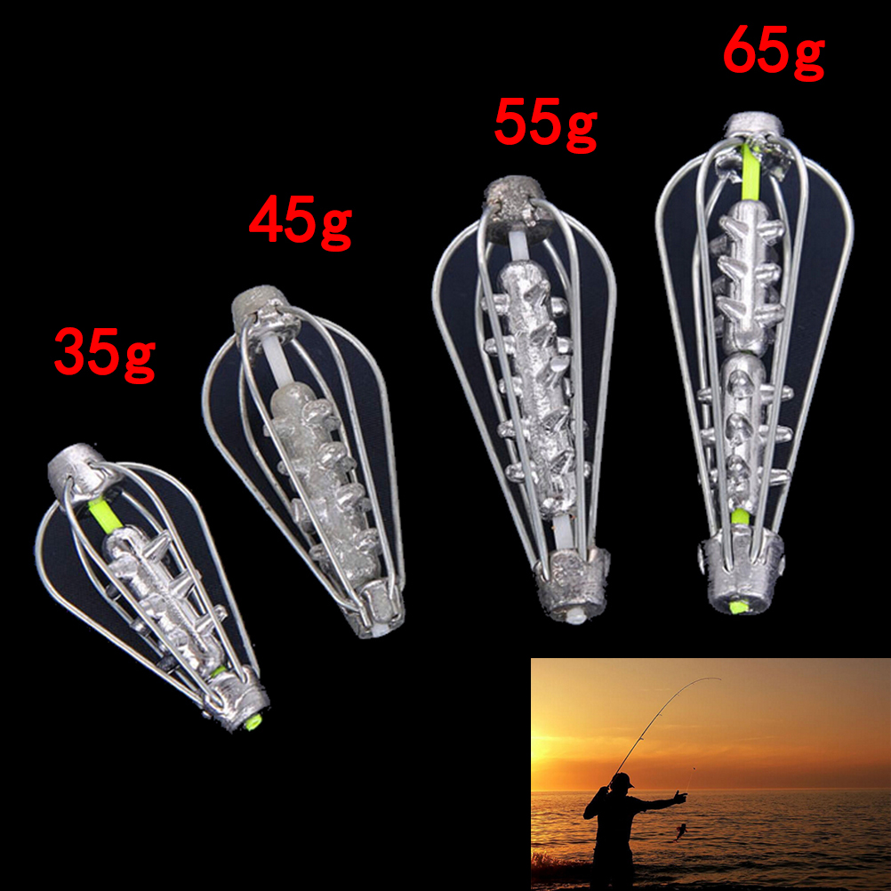 35g 45g 55g 50gNylon And Pure Lead Fishing Bait Cage Carp Catfish Feeder Fishing Accessories Silver