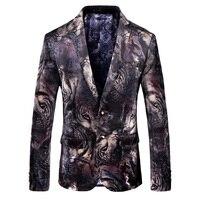 Tiger Print Samt Blazer Männer Hohe Qualität Business Casual Männer Stilvolle Blazer Slim Fit Anzug Jacke Männer Blazer Masuclino 5xl