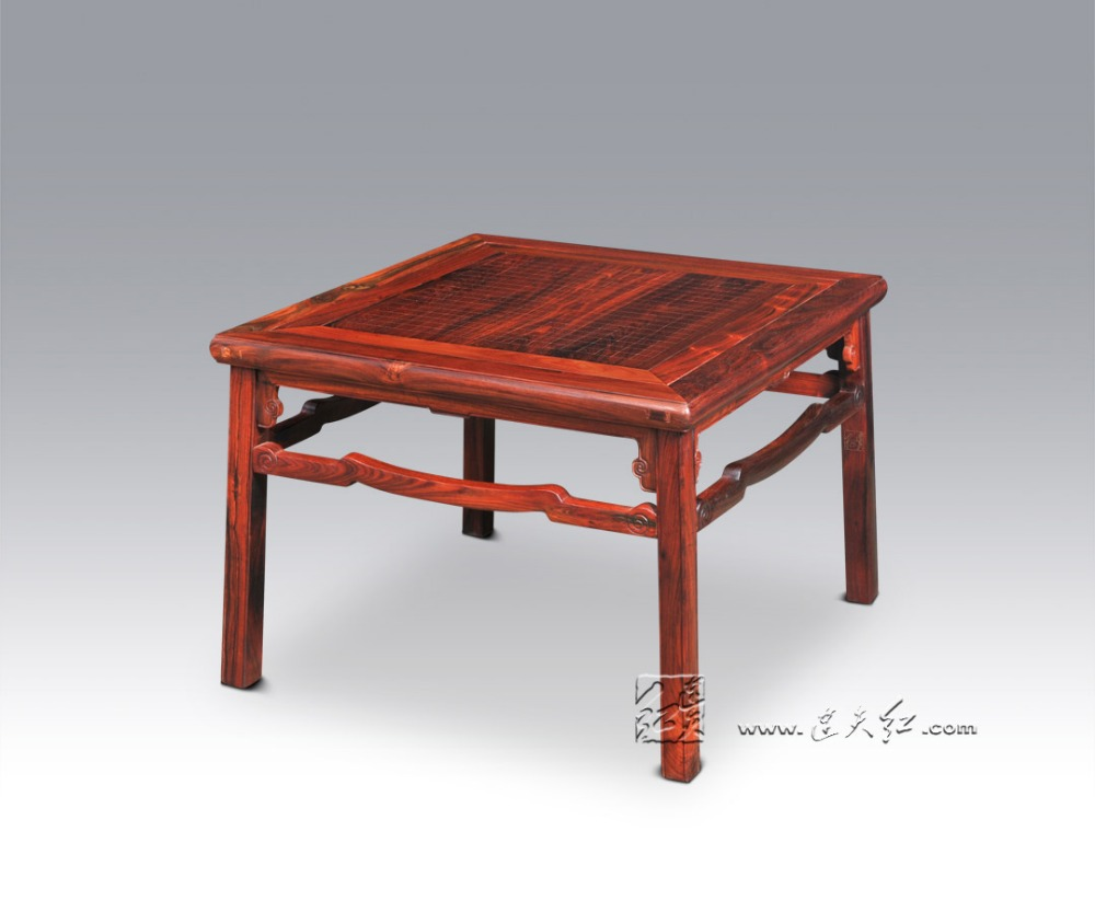 Square Table with Cloud Scroll Patterns Home Dining Furniture Living Room Leisure and Entertainment Solid Rose Wood Outdoor Desk