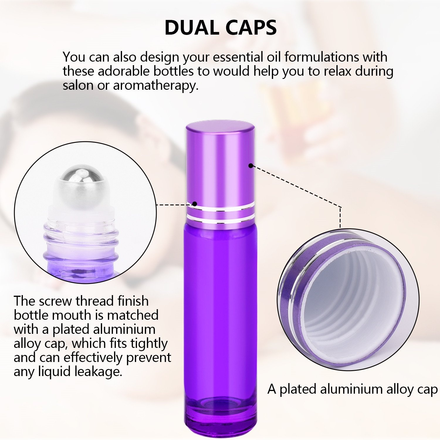 12PCS Thick 10ML Purple Essential Oil Glass Bottle Roller Ball Bottles Steel Ball with Ball Opener Dropper Fuunel in Refillable Bottles from Beauty Health