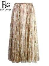 Fashion New 2019 Summer Fashion Designer Skirt Women's Mesh Overlay Floral Printed Pleated Elegant Casual Ladies Skirt contrast gingham waist mesh overlay skirt