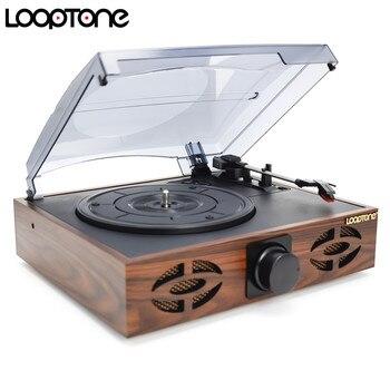 Reproductor de Phono de banda de transmisión de 33/45/78 RPM LoopTone Classic para grabación de vinilo LP 2 altavoces integrados enlace de PC RCA Line-out