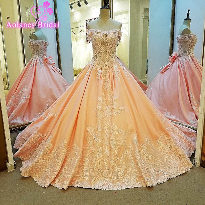 AOLANES Vestido De Festa Orange Appliques Bows Ball Gown Luxury Evening Dresses 2017 Sleeveless Evening Gowns Robe De Soiree