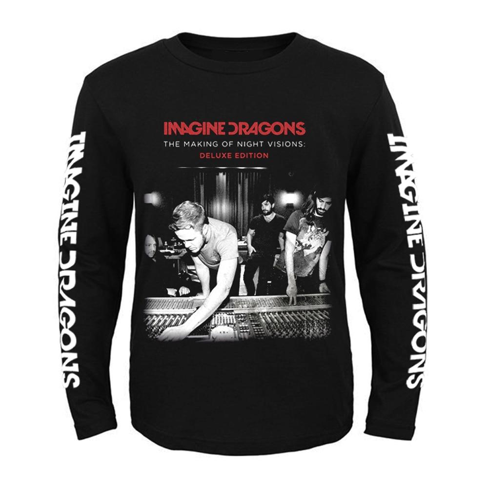 Nouveau T-shirt à manches longues noir rockMen original Dragons indé rock alternatif taille asiatique