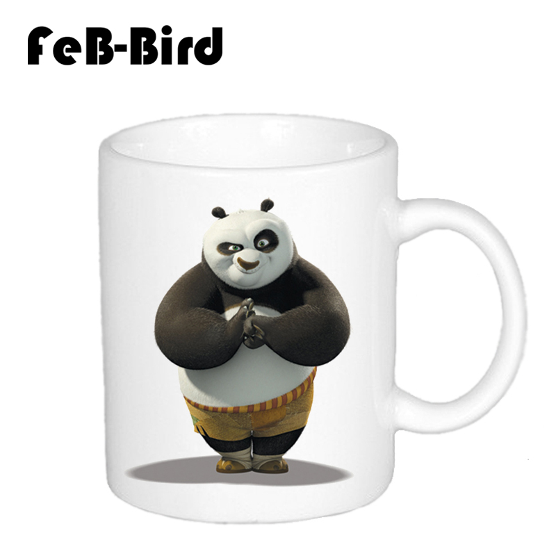 Hot Sale New White Color Cups and Mugs For Tea and Coffee and Milk With Cute and Kawaii Character Kung Fu Panda Printing