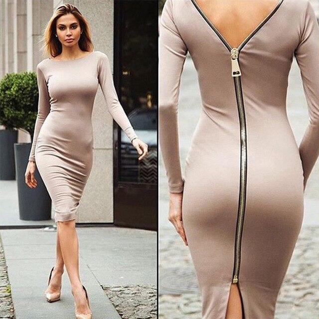 2016 Womens Body Fit Dress Fashion Design Y Zipper Autumn Lady Clothing Long Sleeve