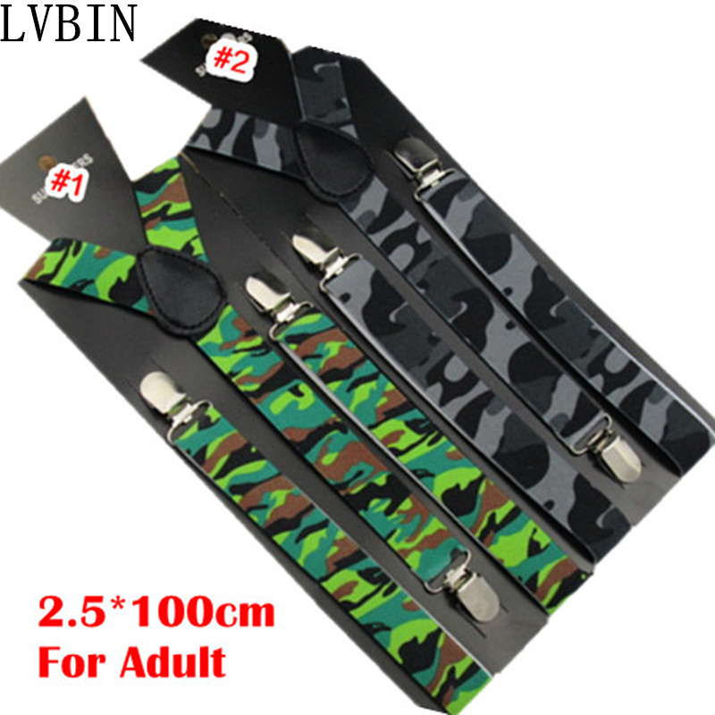 BD046--Fashion Men Suspenders Camouflage Printed Women Braces 2.5*100cm Adjustable Suspender