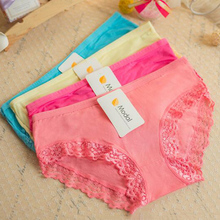 Fashion Solid Lace Modal Women Briefs Elasticity Panties Underwear Candy Color Bamboo Fiber Sexy Briefs One Size Accessory Gifts