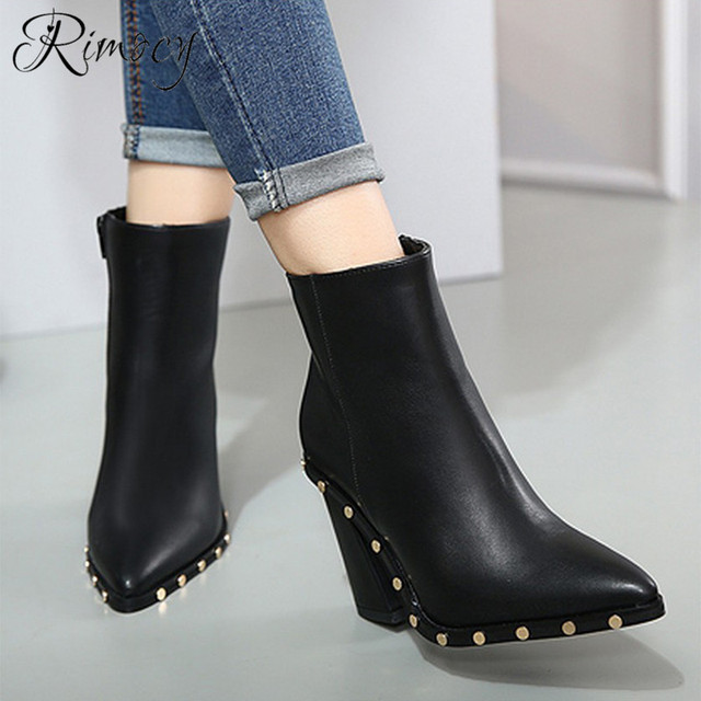 640eddef1bd7 Rimocy 2018 autumn chunky black leather high heel ankle boots fashion women  warm plush short booties