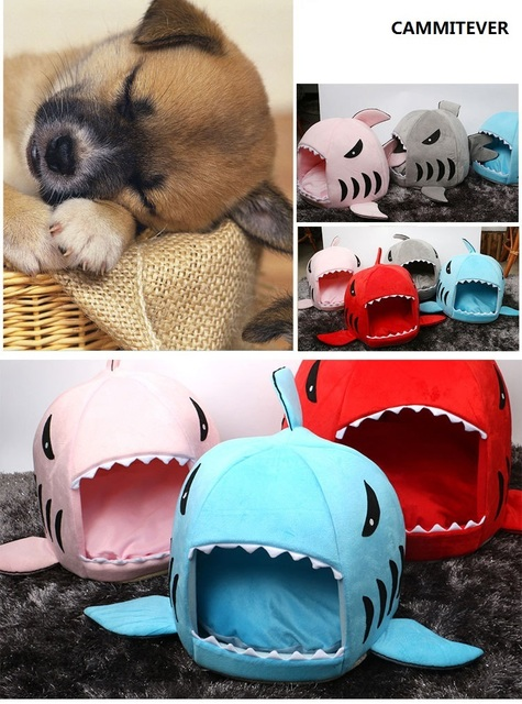 2017 New 2 Size Shark Dog Kennel Pet Products Warm Soft Dog House Pet Sleeping Bag Cat Bed Cat House Free Shipping
